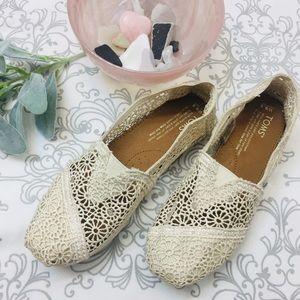 🌿Toms Creamy Crochet Flats